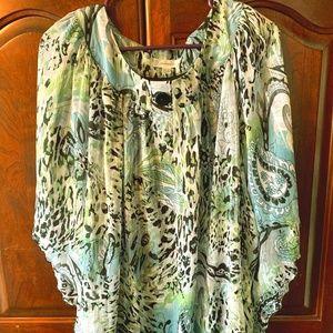 Dress Barn shirt with aqua, green, black, silver.